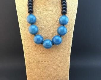 carolina panthers black and blue beaded necklace. Black Bedroom Furniture Sets. Home Design Ideas