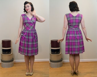 1940s Plaid Dress - Pink and Purple Surplice Top With White Loop Trim - Two Real Pockets!