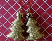 Gold Sparkle Christmas Tree Ornament Earrings, Holiday Festive Jewelry, Winter Accessories