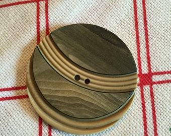 """Vintage Celluloid Wafer,Button, 1  5/8"""", Cream and Olive Green, Faux Wood"""