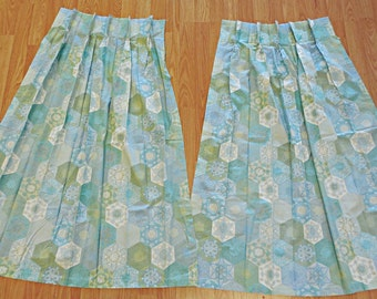 "Vintage Pair of Pleated Curtain Panels Blue Green Floral Nursery 42"" x 20"""