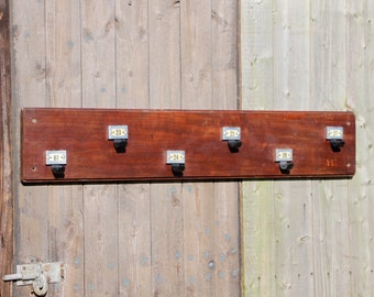 Vintage Antique School Coat Rack with numbered Coat Hooks
