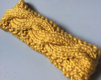 Mustard Yellow Cable Knit Headband