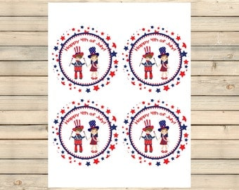 4th of July Stickers/Cupcake Toppers/Favor Tags