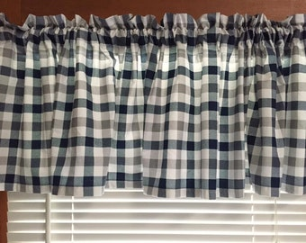 Blue and Gray Checkered Window Valance ~ 76 Inches Wide