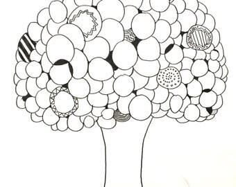 Abstract Tree Drawing Print