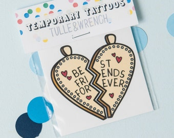 Best Friends Forever Temporary Tattoo, Best Friends Temporary Charm Tattoo, Best Friend Tattoo