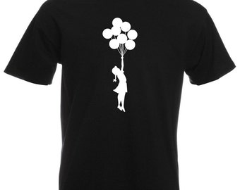 Mens T-Shirt with Banksy Flying Girl with Balloons / Escapism Girl with Balloon Shirts / Stunning Teen Shirt + Free Decal Gift