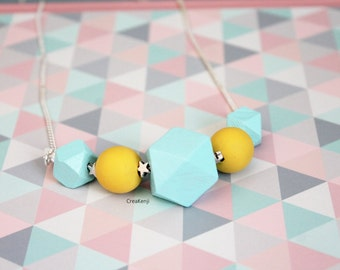 Necklace summer graphics beads Turquoise and yellow inspired Scandinavian