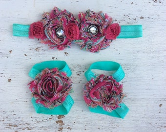 Baby headband and Barefoot sandals; baby barefoot sandals; pink floral sandal; toddler barefoot sandal; sandal