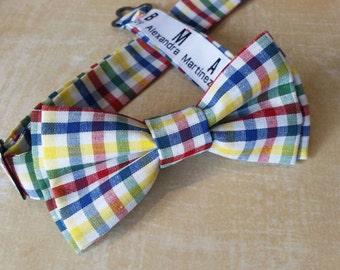 Kids Pre-Tied Bow Tie (Colorful Plaid)