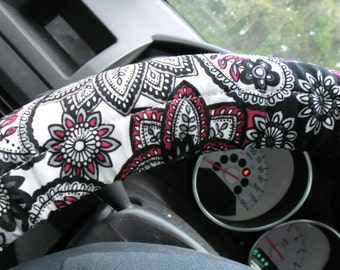 Black, red, and white paisley steering wheel cover