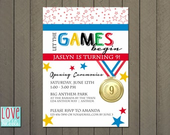 Olympic Games Birthday party gold medal Invitation PRINTABLE DIGITAL FILE - 5x7