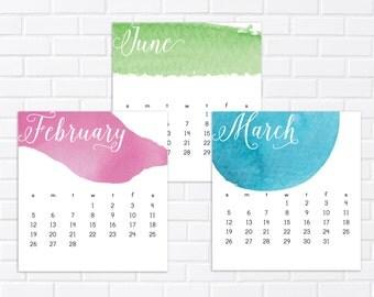 2018 Watercolor Desk Calendar, Desk Calendar, 2018 Calendar, Mini Calendar, Calendar, Watercolor Calendar, Hostess Gift, Stocking Stuffer
