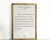 Book page sign, quote sign, literary quote, nursery decor, library decor, large sign, fitzgerald