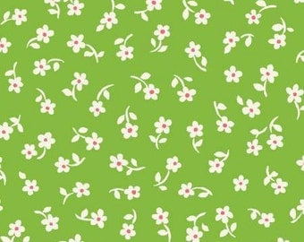 Puddle Jumpers Green Tiny Daisys cotton fabric, by Kathy Brown