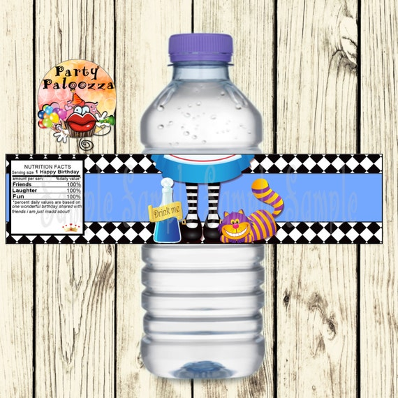 Alice In Wonderland Water: Printable Birthday Alice In Wonderland Water Bottle Labels
