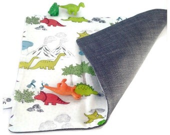 Dinosaur play mat, fold away playmat, toy dino play mat, travel kids play mat, fold up playmat, Activity imaginative play, on the go CE mark