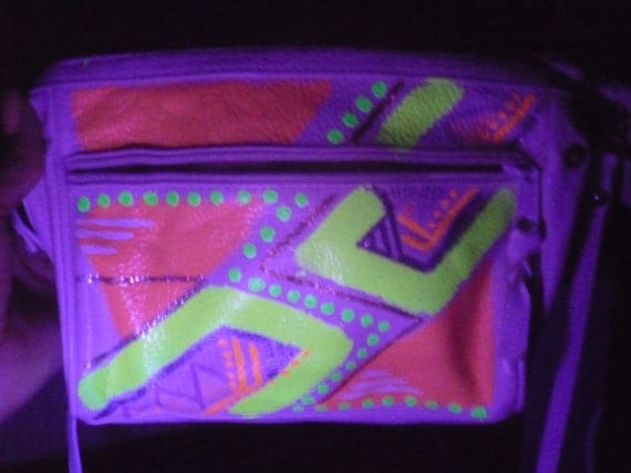 Glow in the Dark Party Purse Black Light Bag White Leather
