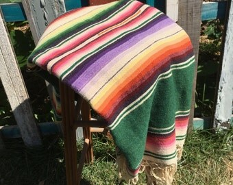 Vintage 1940s Mexican Saltillo blanket rug serape hand woven wool striped soft folk art hand loomed Mexican blanket