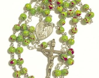 Green Multi-colored Rosary