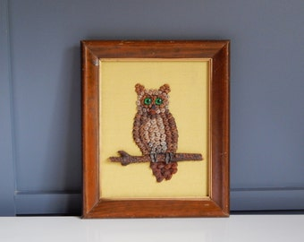 Vintage Owl Art/Original Art/Pinecone Owl/Pinecone Art/Silk Background/Wooden Frame/Silk Fabric Background/Chartreuse Silk