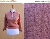 Vtg 70's dainty cropped keyhole knit sweater lightweight pink sheer batwing acrylic 3/4 sleeves wide waistband