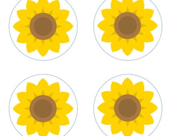 Sunflowers Edible Cupcake Topper Decorations - Set of 12 Toppers