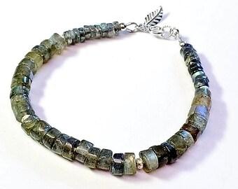 Natural labradorite bracelet. sterling silver,boho,bohemian,gypsy,beaded,bracelets,jewellery, jewelry,women,stone,silver,layering,stacking