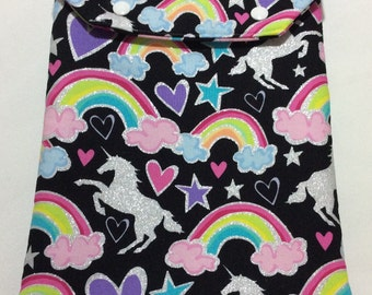 DEAR DIARY Diaper & Wipe Pouch! Unicorns Trave Diaper and Wipe Holder. Glittery Unicorns. Snap Closure with back pocket.
