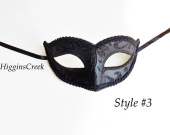 Classic Venetian Masquerade Mask with Feathers Mardi Gras Celebrations