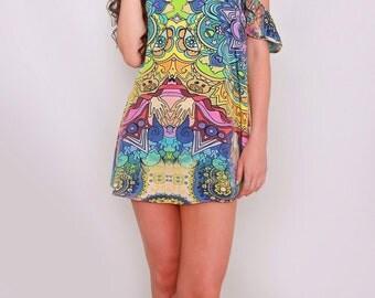 Kitten Beachwear Dream Mystic Cold Shoulder Mini Glastonbury and V Festival Dress