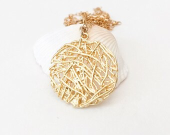 Mesh Coin Necklaces Gold Disc Necklace Gold Circle Necklace Gold Pendant Necklace Layering Necklace Necklace Coin Necklace Boho Jewelry