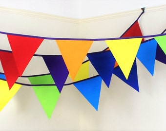 Rainbow Bunting ~ Bright colourful fabric flags ~ funky wedding decoration ~ venue hire ~