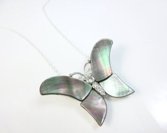 Butterfly Necklace, Mother of Pearl Butterfly Pendant Necklace, Sterling Silver Butterfly