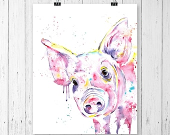 PIG PRINT, Pig Art, Pig Painting, Pig Watercolour, Farm Art, Farm print, Farm theme, Farm animal, Country Decor, Country style, Pig Lover
