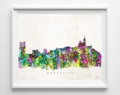 Marseille Skyline Print, France Print, Marseille Poster, Watercolor Art, Cityscape, Home Decor, Giclee, Bed Room Decor, Back To School