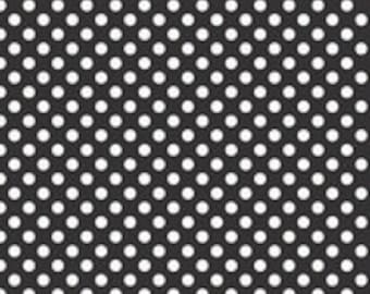 "Laminated Cotton Fabric - Riley Blake Designs ""Laminate Dots Small"". 100% cotton laminate, pattern L350-110 Black - Small. Waterproof Fabric"
