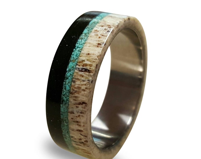 Deer Antler and Ebony Wood Ring, Titanium Ring with Turquoise Inlay