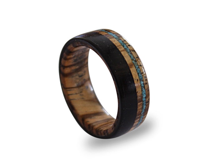 Wooden ring for men made from zebrano wood, inlaid with ebony wood and turquoise