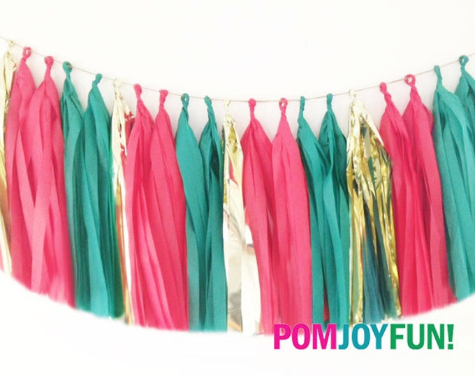 Christmas Tassel Garland, Holiday Tissue Tassel garland, Tissue garland in green, red, and metallic gold, Holiday Party Decor