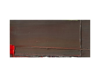 Small Abstract Painting, Original Wall Art, Brown, Red & Green Colors, 10x20 cm (~4x8 inches)