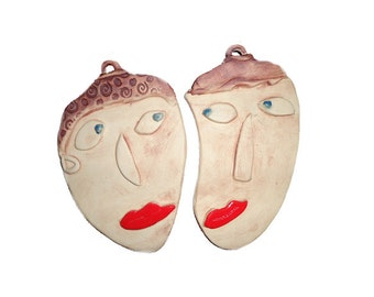 Lovers and Friends/Ceramic Wall Hanging Faces (2)/Neutral Color - Bright Red Lips/SMALL/Ceramic Mask/Face Mask/Face Wall Hanging