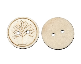 Wooden Winter Tree design Buttons 25mm. Ideal for sewing, card making,scrapbooks and other Craft Projects