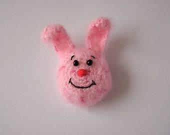 Crochet Pink Bunny Brooch - Crochet Brooch