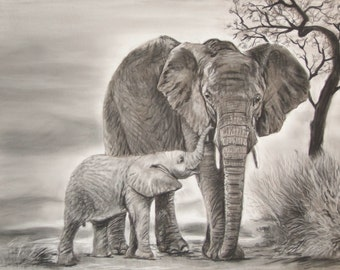 Mother's Love - Elephant art Limited Edition Mounted Artist print hand finished and signed direct from artist studio