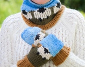 Loom Knit Cowl, Hat, Mittens PATTERN. Sheep Cowl, Hat, Mittens, Loom knit Fair Isle Sheep PATTERN. PDF Pattern Download. 3 patterns included