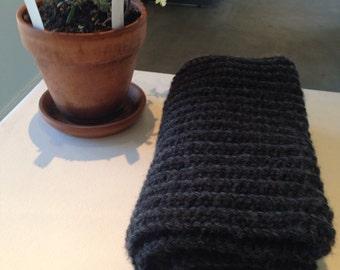Chunky Gray Shawl - Handmade Ribbed Dark Gray Scarf - Menswear / Women's