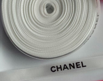"""Sale 3/8"""" wide -  5 yards White Authentic CHANEL Ribbon New"""