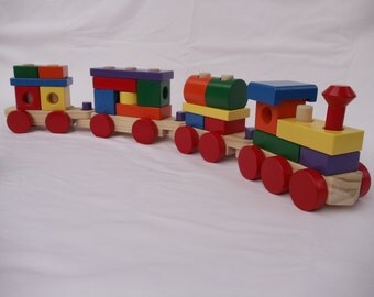 Block Train - FREE SHIPPING on this item - painted - stacking toy - Toy Train set - imagination train